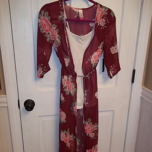 NWT No Boundaries Burgundy Long Line Duster